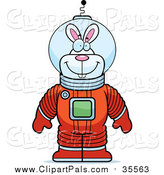 Pal Clipart of a Happy Astronaut Rabbit in a Space Suit by Cory Thoman