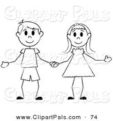 Pal Clipart of a Happy Black and White Stick Boy and Girl Holding Hands by Pams Clipart