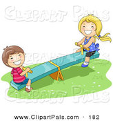 Pal Clipart of a Happy Boy and Girl Playing on a See Saw in the Park by BNP Design Studio