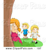 Pal Clipart of a Happy Boy and Two Girls Playing Hide and Seek Outdoors by BNP Design Studio