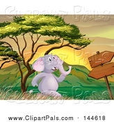 Pal Clipart of a Happy Elephant Running by a Sign at Sunset by Graphics RF