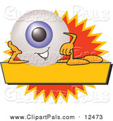 Pal Clipart of a Happy Eyeball Character on a Blank Yellow and Orange Label by Toons4Biz