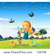 Pal Clipart of a Happy Girl and Birds by Graphics RF