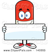 Pal Clipart of a Happy Pill Mascot Holding a Blank Sign by Hit Toon