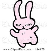 Pal Clipart of a Happy Pink Rabbit by Lineartestpilot