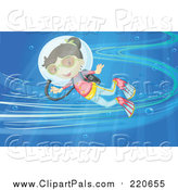 Pal Clipart of a Happy Scuba Girl in an Ocean Current by Graphics RF