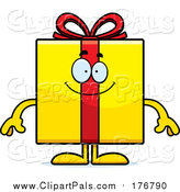 Pal Clipart of a Happy Yellow Gift by Cory Thoman