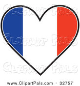 Pal Clipart of a Heart Shaped French Tricolour Flag by Maria Bell
