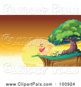 Pal Clipart of a Hen and Chicks on a Cliff Against a Sunrise by Graphics RF