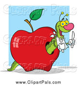 Pal Clipart of a Hungry Green Worm in a Red Apple over a Blue Square by Hit Toon