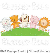 Pal Clipart of a Lamb, Cat, Dog, Pig and Lion Holding Hands on a Green Hill by BNP Design Studio