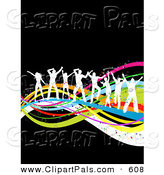 Pal Clipart of a Line of White Dancing People Silhouettes Dancing on Colorful Waves over Black by KJ Pargeter