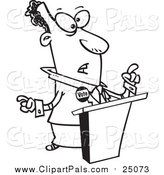 Pal Clipart of a Lineart Black Politician at a Podium by Toonaday