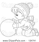 Pal Clipart of a Lineart Boy Rolling a Ball of Snow by Alex Bannykh