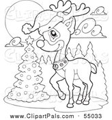 Pal Clipart of a Lineart Christmas Reindeer by a Tree by Visekart