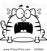 Pal Clipart of a Lineart Chubby Scared Tabby Cat by Cory Thoman