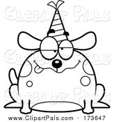 Pal Clipart of a Lineart Drunk Birthday Dog Wearing a Party Hat by Cory Thoman