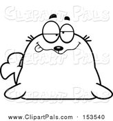 Pal Clipart of a Lineart Drunk Seal by Cory Thoman