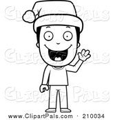 Pal Clipart of a Lineart Happy Christmas Boy Wearing a Santa Hat by Cory Thoman