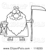 Pal Clipart of a Lineart Happy Father Time Senior Man Holding a Scythe and Hourglass by Cory Thoman