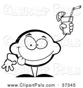 Pal Clipart of a Lineart Lemon Character Holding up a Glas of Lemonade by Hit Toon