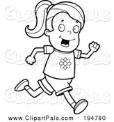 Pal Clipart of a Lineart Running Girl by Cory Thoman