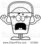 Pal Clipart of a Lineart Scared Beach Pail Mascot by Cory Thoman