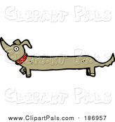 Pal Clipart of a Long Dachshund Dog by Lineartestpilot