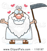 Pal Clipart of a Loving Father Time Man Holding a Scythe by Cory Thoman