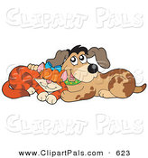 Pal Clipart of a Marmalade Cat and Dog Cuddling on White by Visekart