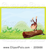 Pal Clipart of a Monkey Playing on a Log Border by Graphics RF