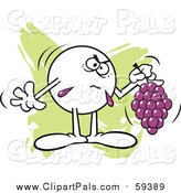 Pal Clipart of a Moodie Character Holding Sour Grapes over Green by Johnny Sajem
