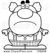 Pal Clipart of a Outlined Black and White Depressed Pudgy Circus Clown by Cory Thoman