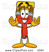 Pal Clipart of a Paint Brush Mascot Welcoming by Toons4Biz