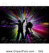 Pal Clipart of a Pair of Black Silhouetted Couple Dancing over Colorful Halftone by KJ Pargeter