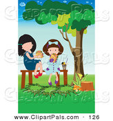 Pal Clipart of a Pair of Girls Eating a Picnic Lunch in a Park by Mayawizard101