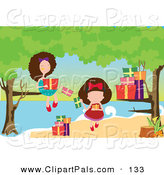 Pal Clipart of a Pair of Girls Opening Presents Under Trees at a Beach by Mayawizard101