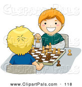 Pal Clipart of a Pair of Happy Boys Playing a Game of Chess by BNP Design Studio