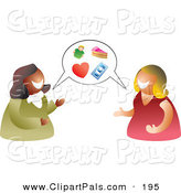 Pal Clipart of a Pair of Happy Women Having a Conversation with a Balloon by Prawny