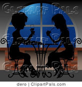 Pal Clipart of a Pair of Ladies Sitting at a Table near a Window, Sipping Cocktails and Silhouetted in the Night by Dero