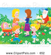 Pal Clipart of a Pair of Two Women and Children in a Park by a Man Sitting on a Bench by Alex Bannykh