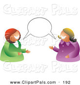 Pal Clipart of a Pair of Women Having a Conversation with a Blank Balloon by Prawny