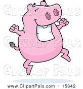 Pal Clipart of a Pink Hippo Jumping and Grinning by Cory Thoman