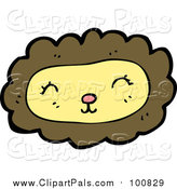 Pal Clipart of a Pleasant Yellow and Brown Lion Face by Lineartestpilot