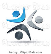Pal Clipart of a Pre-Made Logo of a Trio of Blue, Chrome and Black People Celebrating or Dancing by Beboy