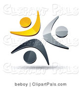 Pal Clipart of a Pre-Made Logo of a Trio of Yellow, Chrome and Black People Celebrating or Dancing by Beboy