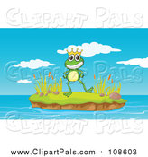 Pal Clipart of a Prince Frog on an Island by Graphics RF