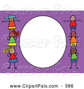 Pal Clipart of a Purple and White Frame with Kids Standing on Eachothers Shoulders, Playing by Prawny