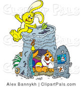 Pal Clipart of a Rabbit and Cat Playing at a Pail by Alex Bannykh