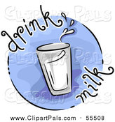 Pal Clipart of a Round Blue Drink Milk Nutrition Blog Icon by BNP Design Studio